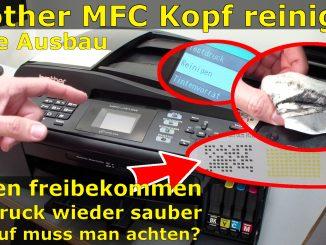 Brother Drucker Tintenstrahldrucker MFC Druckkopf reinigen ohne Ausbau - Ausdruck ist streifig