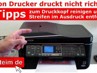 Epson Drucker druckt nicht richtig Druckkopf reinigen Streifen im Ausdruck entfernen