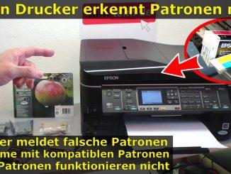 Epson Drucker erkennt Patronen nicht meldet falsche Tintenpatronen kompatible Patronen