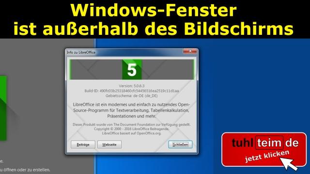 Windows Fenster ist außerhalb des Bildschirms
