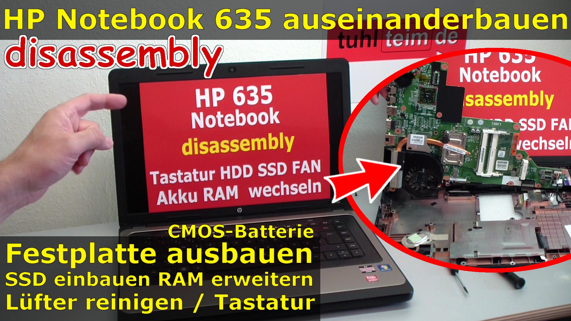 hp notebook 635 ffnen ssd einbauen l fter reinigen tauschen cmos tastatur heatpipe. Black Bedroom Furniture Sets. Home Design Ideas
