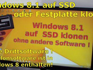Windows 8 8.1 klonen clone SSD HDD Platte Festplatte ohne Extrasoftware Bordmitteln