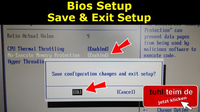 Windows 10 - Bios Setup Memory Protection Enabled Save & Exit