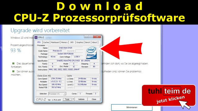 Windows 10 - CPU Prozessor CPU-Z Name Technology Daten