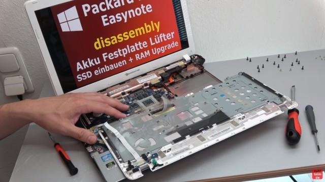 Packard Bell Easynote Notebook öffnen - HDD SSD einbauen - CMOS + Lüfter - Tastatur ausbauen