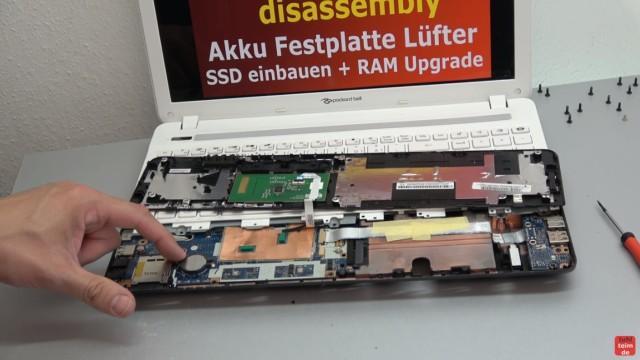 Packard Bell Easynote Notebook öffnen - HDD SSD einbauen - CMOS + Lüfter - Touchpad ausbauen