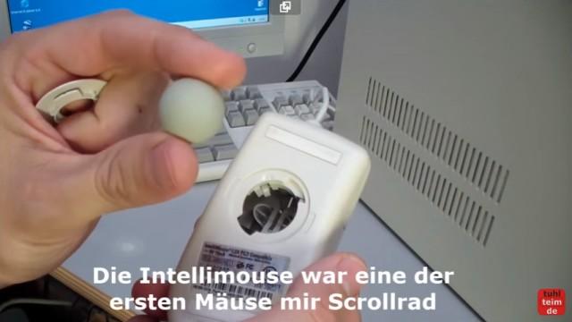 """RetroPC - Der Fujitsu-Siemens PC """"T-Bird"""" aus dem Jahr 2000 - Serielle Microsoft Intellimouse mit Kugel"""