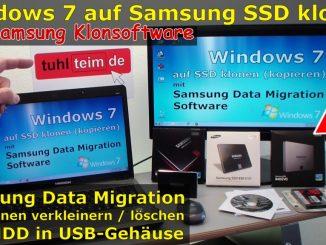 Windows 7 auf Samsung SSD Evo klonen mit Samsung Data Migration Software