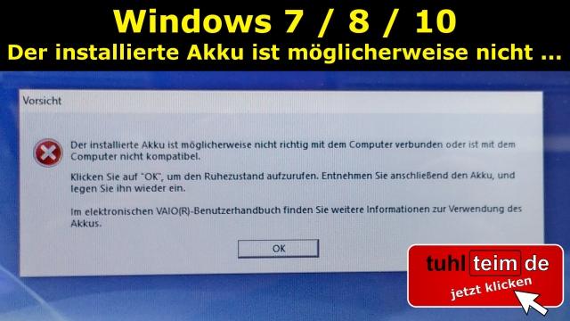 sony vaio der installierte akku ist möglicherweise nicht richtig mit dem computer verbunden