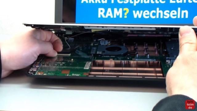 Asus X540s öffnen und auseinanderbauen SSD einbauen Bios starten Lüfter + Akku wechseln - Tastatur ausbauen