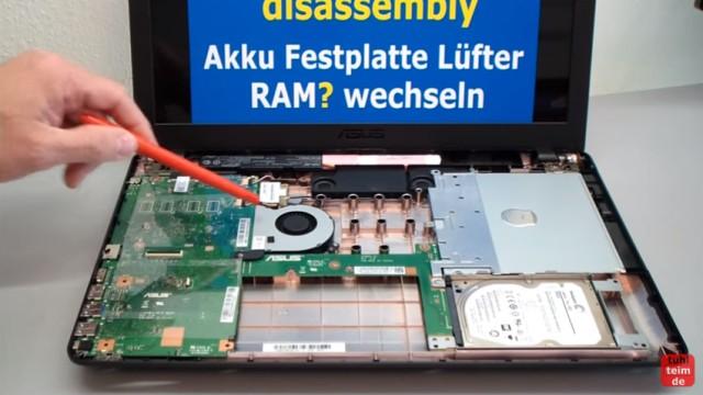 Asus X540s öffnen und auseinanderbauen SSD einbauen Bios starten Lüfter + Akku wechseln - geöffnet