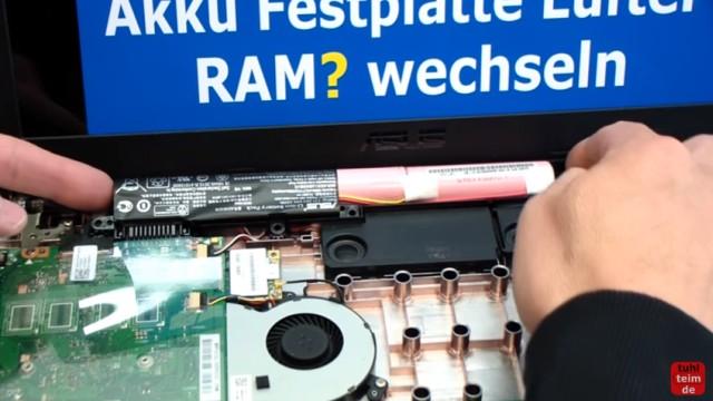 Asus X540s öffnen und auseinanderbauen SSD einbauen Bios starten Lüfter + Akku wechseln - Akku ausbauen