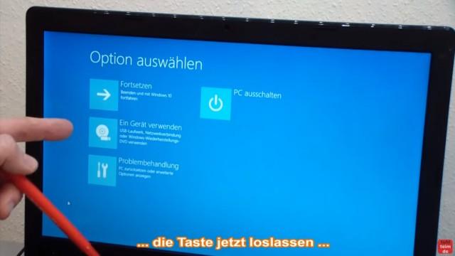 Bios starten Windows 10 - Notebook - ins UEFI BIOS gelangen - jetzt erscheint ein blaues Windows-Bild/Fenster