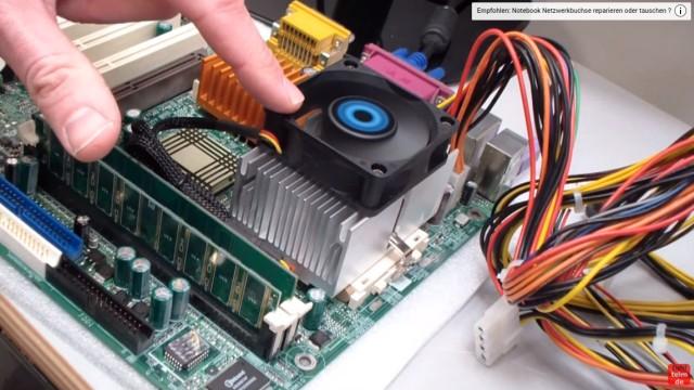 CPU wird zu heiss und überhitzt - PC schaltet sich aus - Temperatur im Bios kontrollieren - Kühler und Lüfter fertig montiert - der Lüfter läuft
