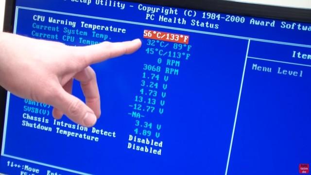 CPU wird zu heiss und überhitzt - PC schaltet sich aus - Temperatur im Bios kontrollieren - Die CPU-Temperatur (45°) wird im Bios angezeigt, ebenso die Temperatur (56°), bei der eine akustische Warnung ertönt