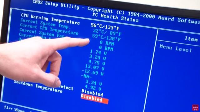 CPU wird zu heiss und überhitzt - PC schaltet sich aus - Temperatur im Bios kontrollieren - Die CPU-Temperatur steigt auf 59° - es ertönt ein Warnsignal