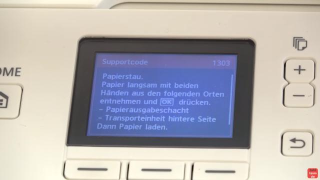Canon Pixma Drucker Papierstau Fehlercode Supportcode 1303 FIX - Papierausgabeschacht und Transporteinheit hintere Seite prüfen