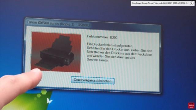 Canon Pixma B200 Error – Fehler beheben FIX - Druckerfehler wird angezeigt - Schalten Sie den Drucker aus