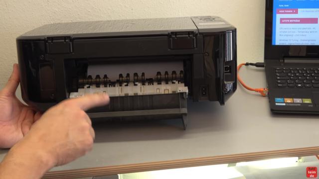 Canon Pixma Drucker Papierstau Problem beheben - Papierausgabeschacht - hintere Abdeckung öffnen - Papierumlenkeinheit