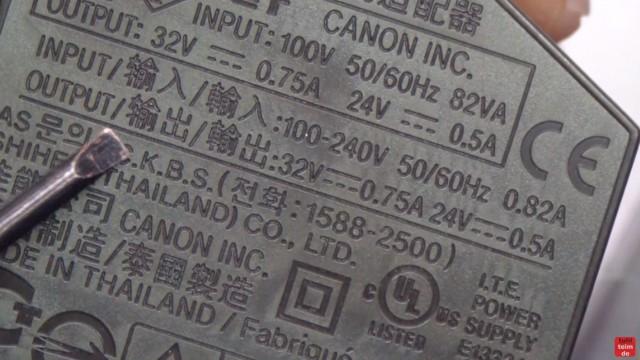 Canon Pixma Drucker funktioniert nicht / ohne Funktion - defekt? Netzteil ausbauen und testen - die Beschriftung des Netzteils mit den Ausgangsspannungen