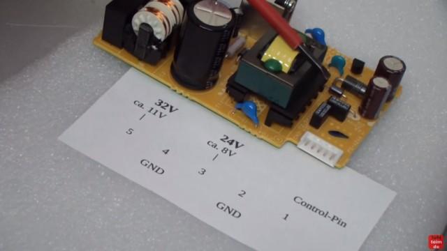 Canon Pixma Drucker funktioniert nicht / ohne Funktion - defekt? Netzteil ausbauen und testen - die Pinbelegung und die Spannungen bei 5-Pin Netzteilen