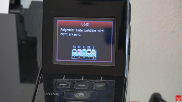 Canon Pixma Druckkopfprobleme beseitigen - Fehler beheben FIX - U052 Druckkopftyp ist nicht korrekt - alternativer Druckkopf wurde erkannt - Patronen fehlen