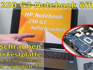 HP Notebook 250 G3 öffnen aufschrauben Lüfter HDD RAM wechseln FIX