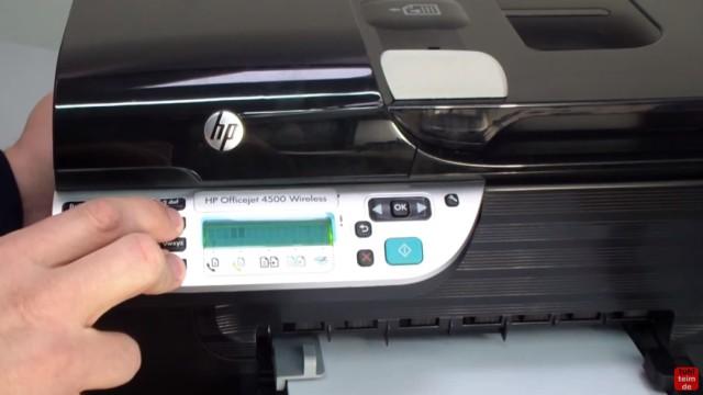 HP OfficeJet 4500 Reset - Factory - Drucker zurücksetzen - jetzt bei gedrückten Tasten den Netzstecker wieder einstecken