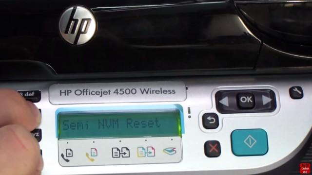 HP OfficeJet 4500 Reset - Factory - Drucker zurücksetzen - auf dem Display werden verschiedene Meldungen angezeigt - Semi NVM Reset