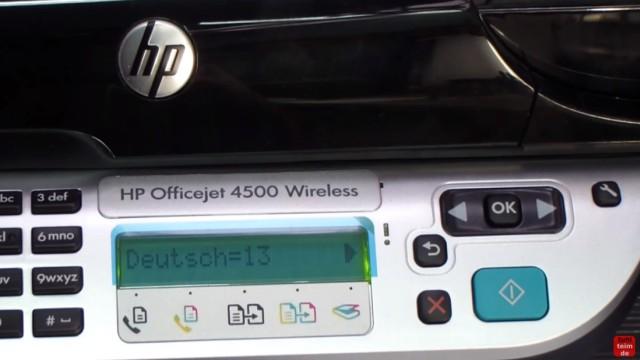 """HP OfficeJet 4500 Reset - Factory - Drucker zurücksetzen - Tasten """"#"""" und """"6"""" loslassen und Sprache und Land einstellen"""