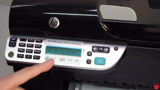 HP OfficeJet 4500 Reset - Factory - Drucker zurücksetzen - im Display steht z.B. die Uhrzeit oder ggf. eine Fehlermeldung