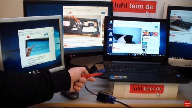 Multi Monitor Setup Windows 10 - 5 Monitore am Notebook - verschiedene Videos auf verschiedenen Monitoren
