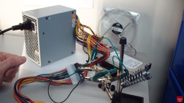 PC ATX Netzteil testen mit Multimeter oder Netzteiltester - Test von 3,3V + 5V + 12V - Netzteil kurzschließen und starten mit Pin #16 (PowerOn) und Pin#17 (Masse) bei 24-Pin-Stecker