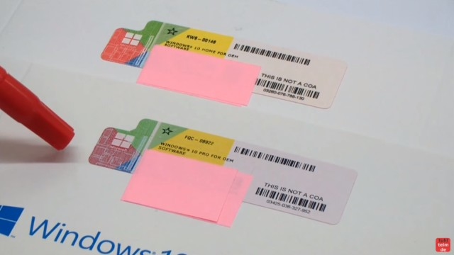 Windows 10 DVD original oder gefälscht - Sicherheitsmerkmale vergleichen - Vergleich der Product-Key-Aufkleber