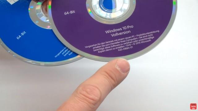Windows 10 DVD original oder gefälscht - Sicherheitsmerkmale vergleichen - Hologramm im DVD-Rand fehlt