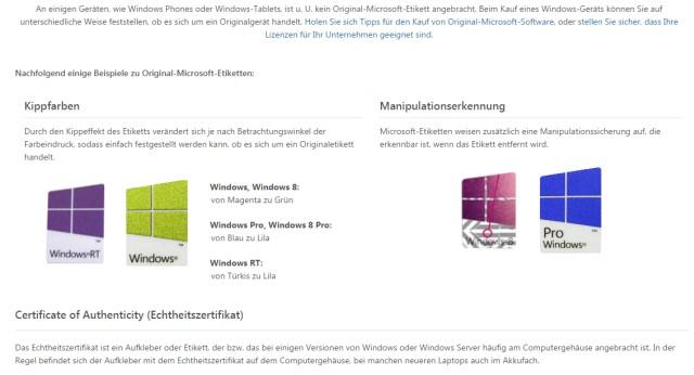 Windows 10 DVD original oder gefälscht - Sicherheitsmerkmale vergleichen - Microsoft Etiketten - Quelle: Microsoft
