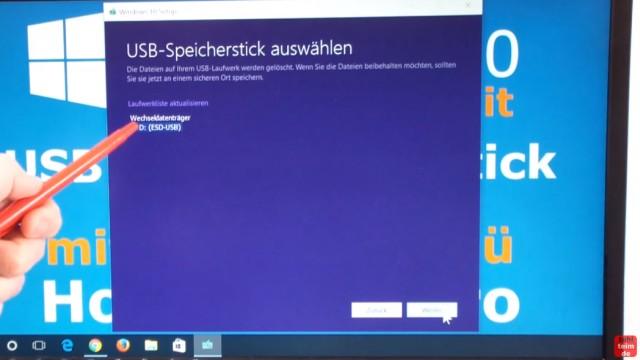 Windows 10 Download 32-bit und 64-bit Pro und Home auf USB-Stick mit Auswahlmenü für vier Windows 10-Versionen - ei.cfg konfigurieren - eingesteckten USB-Stick auswählen