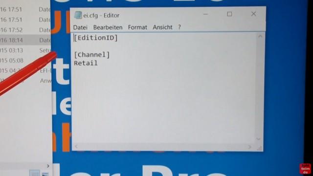 Windows 10 Download 32-bit und 64-bit Pro und Home auf USB-Stick mit Auswahlmenü für vier Windows 10-Versionen - ei.cfg konfigurieren - im Editor die ei.cfg erstellen und editieren