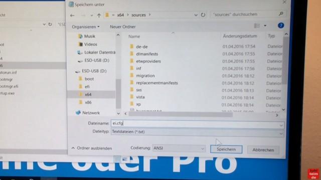 Windows 10 Download 32-bit und 64-bit Pro und Home auf USB-Stick mit Auswahlmenü für vier Windows 10-Versionen - ei.cfg konfigurieren - ei.cfg zweimal abspeichern