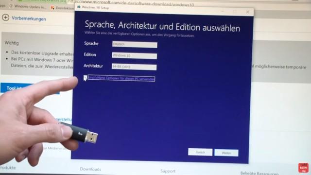 Windows 10 Download ISO Pro+Home von Microsoft und mit Media Creation Tool auf USB Stick kopieren - MediaCreationTool.exe starten und Sprache, Edition und 32-bit oder 64-bit auswählen