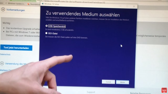 Windows 10 Download ISO Pro+Home von Microsoft und mit Media Creation Tool auf USB Stick kopieren - auf USB-Stick oder als ISO-Datei speichern