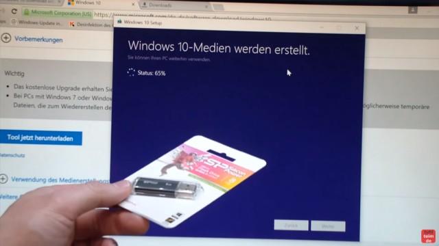 Windows 10 Download ISO Pro+Home von Microsoft und mit Media Creation Tool auf USB Stick kopieren - USB-Medium wird erstellt