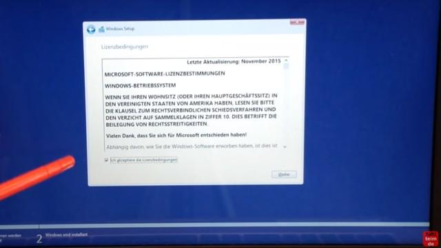 Windows 10 Festplatte SSD - Partitionen löschen - formatieren - neu anlegen - Lizenzbedingungen annehmen