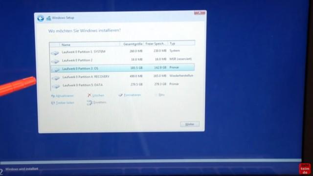 Windows 10 Festplatte SSD - Partitionen löschen - formatieren - neu anlegen - alle Partitionen auf der HDD/SSD werden angezeigt