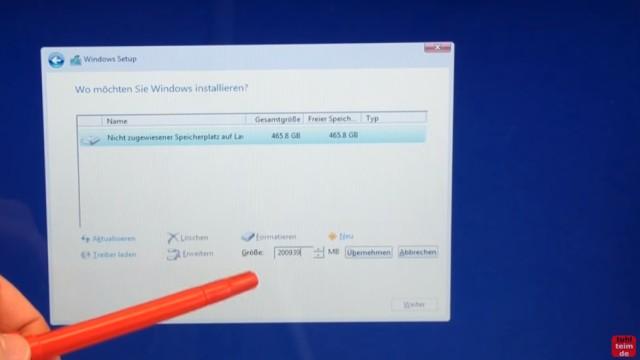 Windows 10 Festplatte SSD   Partitionen Löschen   Formatieren   Neu Anlegen    Eigene Partition C