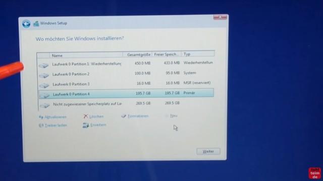 Windows 10 Festplatte SSD   Partitionen Löschen   Formatieren   Neu Anlegen    Windows Erstellt Automatische
