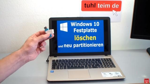 Windows 10 Festplatte SSD - Partitionen löschen - formatieren - neu anlegen - Methode Nr.1 - von Windows 10 USB-Stick booten