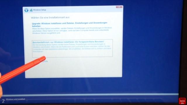 Windows 10 Festplatte SSD - Partitionen löschen - formatieren - neu anlegen - Benutzerdefinierte Installation auswählen