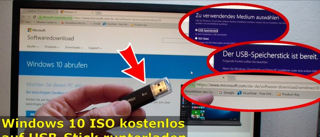 Windows 10 Download ISO Pro+Home von Microsoft mit Media Creation Tool auf USB Stick kopieren