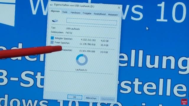 Windows 10 Recovery USB Stick erstellen zum Reinstallieren - belegter/freier Platz auf USB-Stick